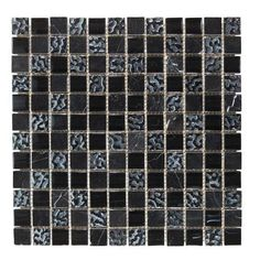 ROCCIA supply this product. www.roccia.com Black mosaic tile. Black Glass and Stone Mix 30x30