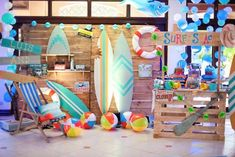 Grab a board and catch the wave in this Surfing Birthday Party at Kara's Party Ideas. Pool Party Kids, Swimming Party Ideas, Aloha Party, Luau Party, Luau Birthday, Boy Birthday Parties, Birthday Ideas, Hawaiian Party Decorations, Beach Party Decor