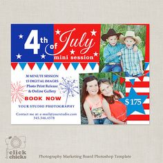 Are you using holidays with your marketing strategy? 4th of July Mini Session Template by ClickChicksDesigns on Etsy, $8.00