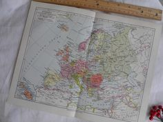 Vintage Map of Europe  German Lithograph by CurioGal on Etsy, $14.21