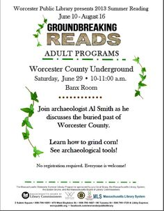 Worcester County Underground, Saturday, June 29, 10-11 am Banx Room