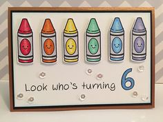 Lawn Fawn Rainbow Crayon Birthday Card by Kate6296 (using Color My World, Jessie's ABCs, Quinn's ABCs)