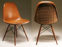 Eames DSW wrapped in leather