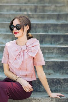 oversized bow blouse on M Loves M los angeles fashion blogger @marmar