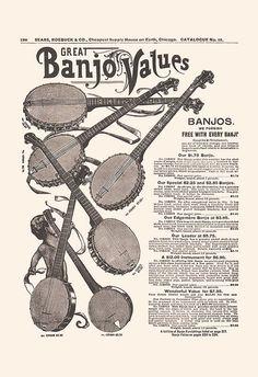 ANTIQUE BANJO ADVERTISEMENT Vintage Banjo by EncorePrintSociety