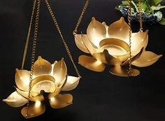 Satyam Kraft 2 Pcs Metal Lotus Candle Holder with Hanging Small Size for Home Decoration Diwali Decoration SATYAM KRAFT