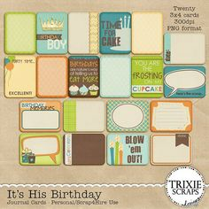 It's His Birthday Digital Scrapbooking Journal Cards It's time to wish your favorite boy a very Happy Birthday and with this digital scrapbooking collection from Trixie Scraps, you can scrap all the photos from the day in style! Filled with great patterns and fun party touches, this jam-packed collection is one you'll reach for again and again.