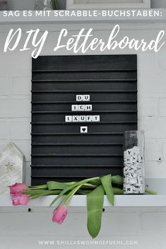 Day signs DIY: Letterboard with Scrabble letters- DIY : Letterboard mit Scrabble Buchstaben Do DIY Letterboard yourself. Also a great idea for Valentines Day! Letterboard Signs, Diy Signs, Scrabble Letters, Diy Letters, Letter Wall, Letter Board, Light Up Letters, Apple Prints, Make Your Own Puzzle