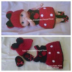 Vestido de crochê Modelo  Minnie boneca Baby Alive  aceito encomendas na página  #Raka Artesanato/Raquel Rosa