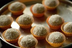 coconut ladoo kept in small muffin liners