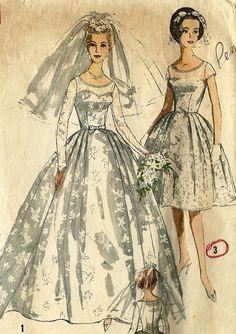 Vintage Wedding Dress Pattern, Simplicity