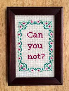 Can You Not Funny Subversive Cross Stitch Finished by stephXstitch