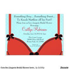 Cute Bra Lingerie Bridal Shower Invitation