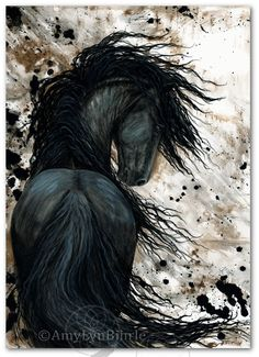 Majestic Black Horse Friesian Abstract Fine ArT by AmyLynBihrle, $8.99