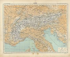 1889 Alpine Region Antique Map Italy by CarambasVintage on Etsy, $25.00
