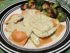 Sun-Dried Tomato Ravioli with Basil Cream Sauce & Jumbo Reese's Heart Stuffed Cookie