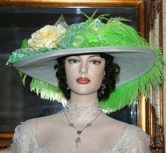 Kentucky Derby Hat Edwardian Downton Abbey Hat - Lemon-Lime Crystal Fairy