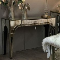Vintage style mirrored single drawer console table with beautiful marbled mirror panels. Part of the durable and sophisticated Sahara range Mirrored Bedroom Furniture, Mirror Panels, Beveled Mirror, Storage Drawers, Modern House Design, Marrakech, Console Table, Moroccan, Entryway Tables
