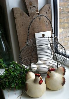 bread board and french style egg basket