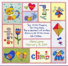 Cross Stitch Kit Patchwork Baby Birth Record  From Baby Hugs