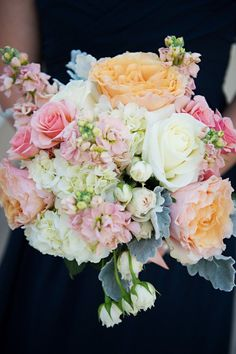 bouquet with corals and blush  Like grey accents and soft arrangement