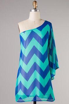 Sassy royal blue chevron dress $39.99!! #chevron # fashionista