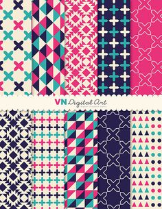 "Digital Paper, Instant Download, Geometric Digital Paper Pack (8.5x11"") -- 10 Digital papers -- 531"