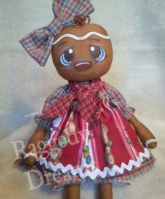 Handmade Primitive Folk Art Gingerbread Girl by RaggedyDreamsToo