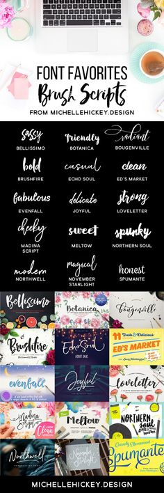 A collection of brush script fonts and typefaces for all of your graphic design, DIY, or blogging projects. Most of these fonts families are under $20 and come with swashes, alternate ligatures and extras! // Roundup from MichelleHickey.Design