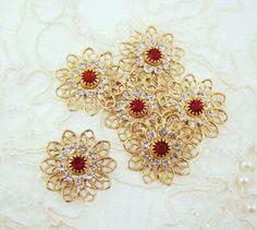Vintage Swarovski Crystal & Siam Red Brass Filigree Combination Flower Finding Connector – 2 by alyssabethsvintage on Etsy