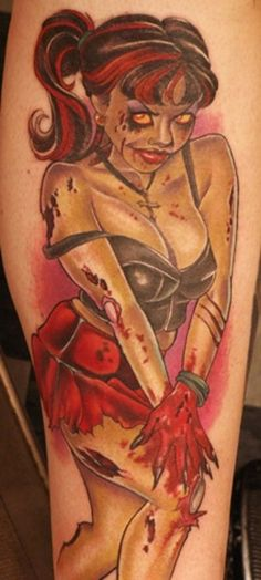 Zombie pinup tattoo by Joe Capobianco