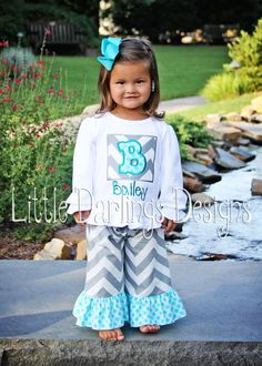 Custom Girls Shirt featuring Gray Chevron by LilDarlingsDesigns