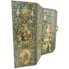Antique Welsh Victorian Panel Decoupage Screen ($1,500) ❤ liked on Polyvore featuring home, home decor, panel screens, room dividers, outdoor room dividers, black home decor, outdoor screen, outside home decor and seashell home decor