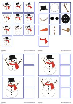 A game of observation and visual discrimination with a snowman. Christmas Activities, Winter Activities, Activities For Kids, Preschool Winter, Kindergarten Lesson Plans, Winter Project, Back To School Activities, Montessori Activities, Winter Theme