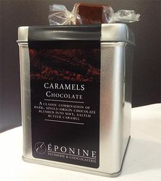 Dark Chocolate Caramels in their presentation tin, made with the finest dark chocolate from French chocolate house Valrhona and rich butter from Normandy (Eponine Patisserie & Chocolaterie)