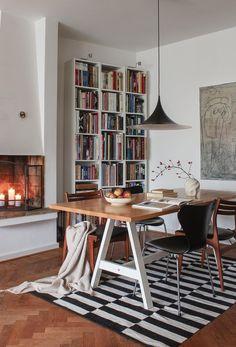 Personal Library, Office Desk, Kitchen Dining, Corner Desk, Bookcase, Shelves, Windows, Ceiling Lights, Interior Design