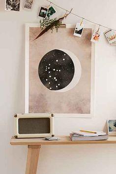 Claire Goodchild Moon & Stars Aquarius Art Print