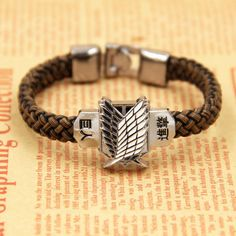 Attack Titan Bracelet Anime Cosplay Shingeki No Kyojin Leather Unisex Wristband