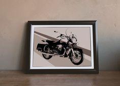 Moto Guzzi California 90th Anniversary - Illustration by MSaHomeDesign on Etsy