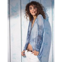 Pullover mit Batikeffekt in blau von Summum bei IMPRESSIONEN