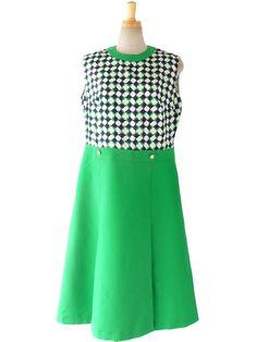 ロンドン買い付け 60年代製 グリーン X ホワイト・ブルー 幾何学プリント ヴィンテージ ワンピース 15BS038