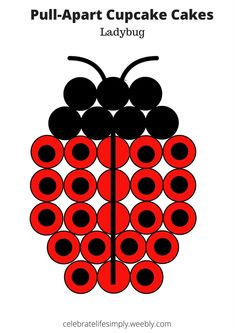Ladybug Pull-Apart Cupcake Cake Template