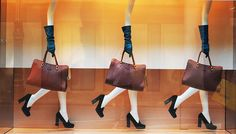 Tods have also used mannequin limbs to highlight accessory product, using repetition giving the illusion of a female silhouette walking.
