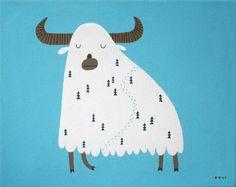 Snowy yak...by Ooli Mos. I love this guy... cute.