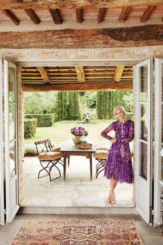 Guggenheim on the threshold of her Italian retreat.   - HarpersBAZAAR.com