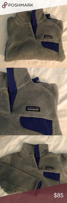 Patagonia Re-Tool snap pullover 🎉Grey with dark blue accents, only been worn a couple times. In great condition. Size Small women's. Pet and smoke free home. Super comfy and cute! Great for fall weather, open to offers!!🎉 Patagonia Tops Sweatshirts & Hoodies