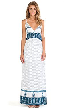 FAITHFULL THE BRAND Lullaby Maxi Dress in Earth & Water Blue Print