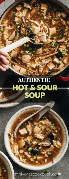 Hot and Sour Soup (酸辣汤) - Authentic Chinese restaurant-style hot and sour . - Hot and Sour Soup (酸辣汤) – Authentic Chinese restaurant-style hot and sour … Check more at - Easy Healthy Recipes, Vegetarian Recipes, Cooking Recipes, Easy Asian Recipes, Sweet And Sour Soup, Hot And Sour Soup Recipe Easy, Hot And Sour Soup Recipe Vegetarian, Thai Hot And Sour Soup, Hot Soup