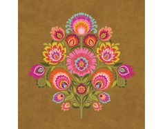 "Wycinanki Giclee Folk Art Print ""Imagine"" Harvest Colors 8x10 on Kraft Brown on Etsy, $22.00"