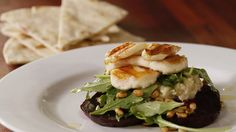 Beetroot & Grilled Haloumi Salad with Eggplant Mash